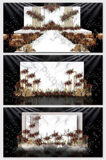 imagen de efecto de boda de tema occidental de mármol rojo y blanco Decoración y modelo Modelo PSD