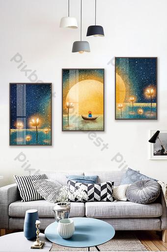 手繪荷塘風景山水兒童房臥室裝飾畫月光下 裝飾·模型 模板 PSD