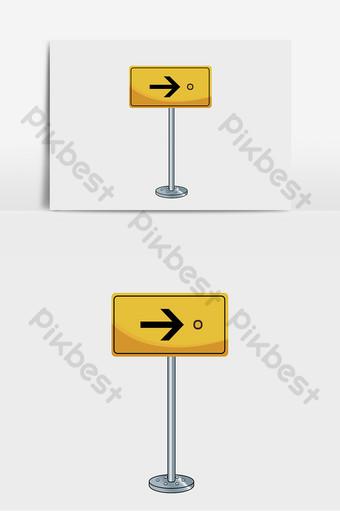 elemento de señal de tráfico de metal amarillo Elementos graficos Modelo PSD