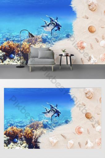 الحديثة وبسيطة شاطئ البحر الأبيض المتوسط دولفين الأدوات خلفية الجدار الديكور والنموذج قالب PSD