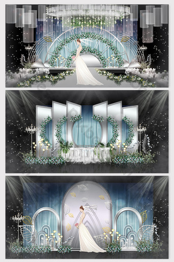 fashion simple silver white senior gray wedding renderings Decors & 3D Models Template PSD