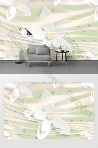 rumah dan kekayaan 3d modern fantasi bunga lingkaran dinding latar belakang ruang tamu Dekorasi dan model Templat PSD