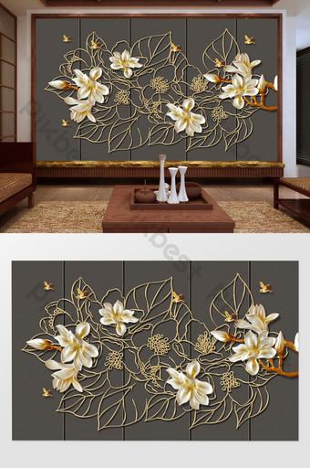 الخط الصيني الجديد ماغنوليا زهرة الحديد الزخرفية شاشة خلفية الجدار الديكور والنموذج قالب PSD