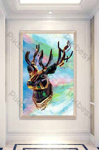 lukisan dekoratif teras burung bunga rusa yang dilukis dengan tangan modern Dekorasi dan model Templat PSD