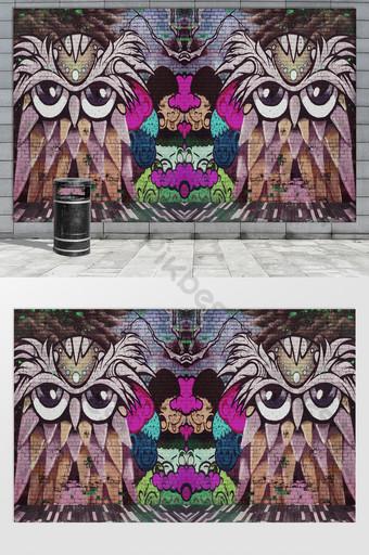 أزياء الشارع الكرتون الإبداعية الكتابة على الجدران الفن التجريدي صافي خلفية الجدار الأحمر الديكور والنموذج قالب PSD