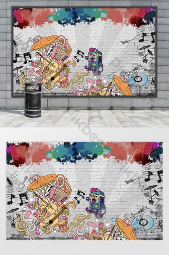 شارع الإبداعية ناحية رسم فن الكتابة على الجدران الموسيقى خلفية الجدار في الهواء الطلق الديكور والنموذج قالب PSD