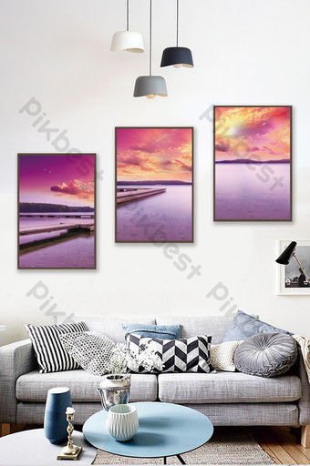 sunset on the sea wooden bridge scenery bedroom hotel decoration painting Decors & 3D Models Template PSD
