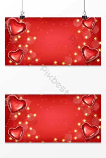 globo rojo en forma de corazón pequeñas luces día de san valentín textura de fondo Fondos Modelo PSD