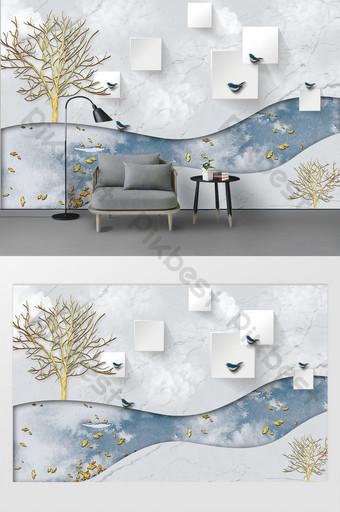 現代時尚3d三維金樹鳥簡單客廳背景牆 裝飾·模型 模板 PSD