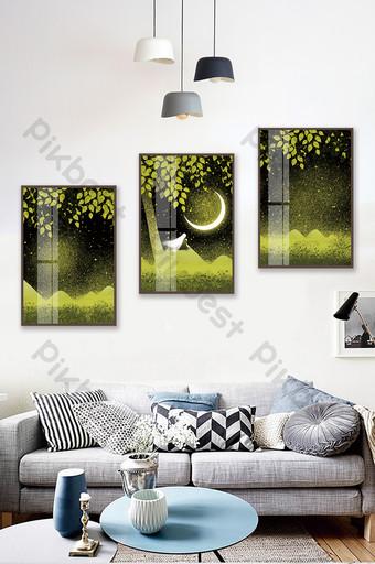 手繪森林月亮山水風景客廳臥室床頭水晶磁性裝飾畫 裝飾·模型 模板 PSD
