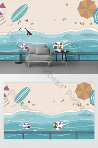 العصر الحديث مرسومة باليد دائرة جوز الهند البحر الإبحار الدلفين التلفزيون خلفية الجدار الديكور والنموذج قالب PSD