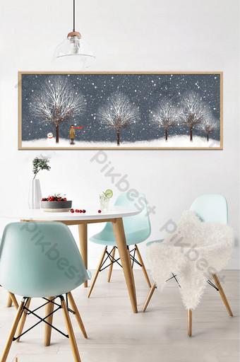 手繪冬季森林風景臥室床頭裝飾畫 裝飾·模型 模板 PSD