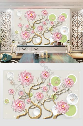 3d perhiasan dinding latar belakang lingkaran bunga Dekorasi dan model Templat PSD