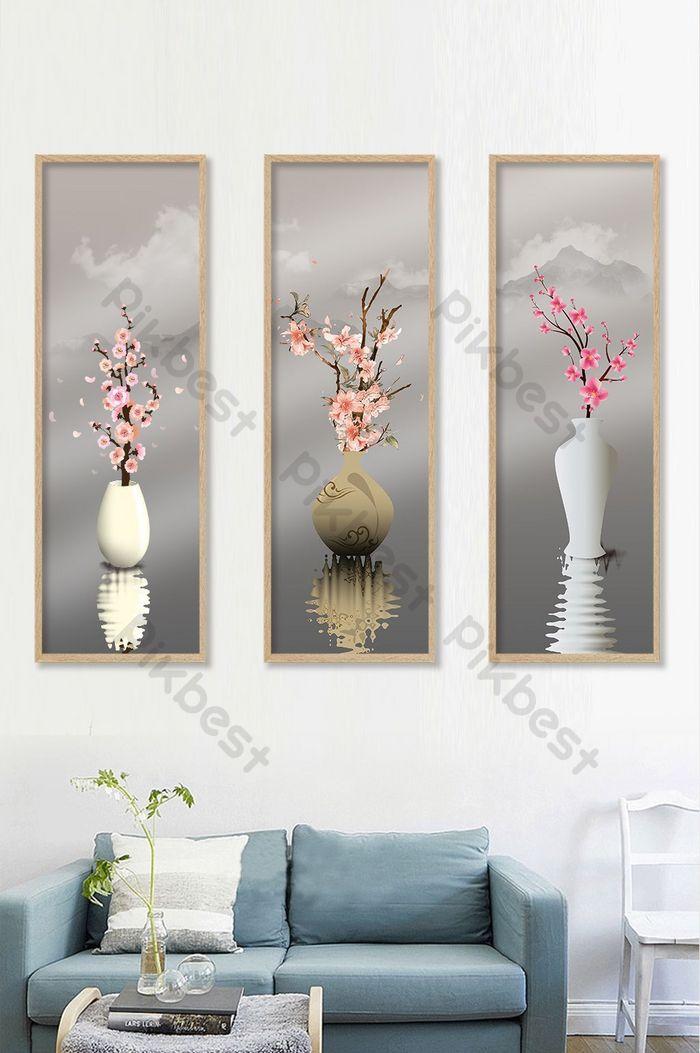 chinesische art landschaft pfingstrose blume dekorative malerei triptychon vertikale version