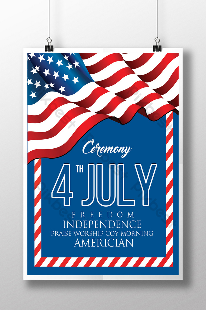7 월 4 일 독립 기념일 플라이어 템플릿 프레임 및 국기