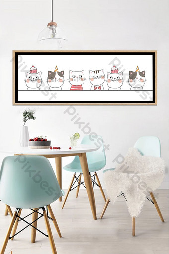 手繪動物貓客廳臥室床頭裝飾畫 裝飾·模型 模板 PSD