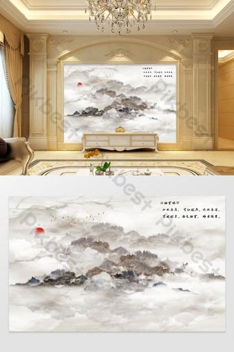 歐式大理石紋理水墨山水畫電視背景 裝飾·模型 模板 TIF