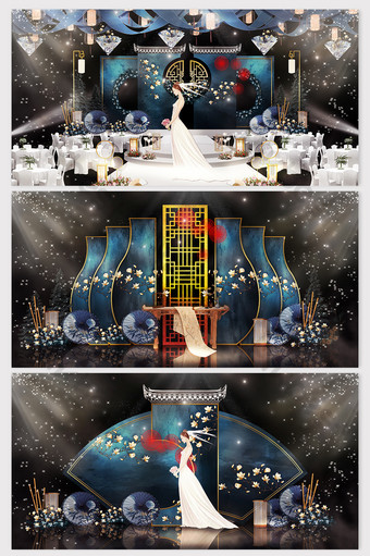 new and fashionable new chinese style senior blue wedding renderings Decors & 3D Models Template PSD