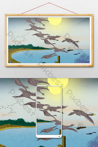 Ukiyo-e, wild geese, birds flying in the sea, decorative paintings Illustration Template PSD