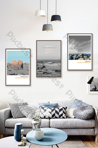 بسيطة الخط الساحلي الأوروبي جميل أبيض وأسود المناظر الطبيعية غرفة المعيشة غرفة نوم فندق الديكور اللوحة الديكور والنموذج قالب PSD