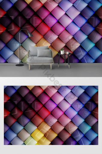 ملون رائع ثلاثي الأبعاد خلفية الجدار مربع الديكور والنموذج قالب PSD