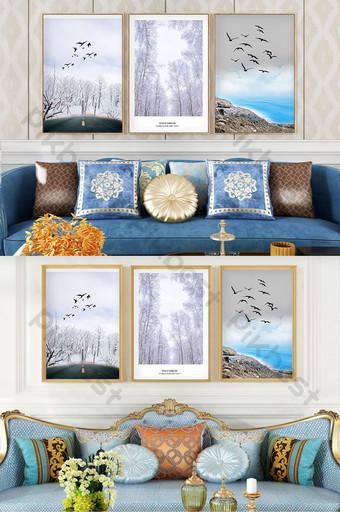 Jane Ou creative forest road sea landscape living room bedroom decoration painting Decors & 3D Models Template PSD