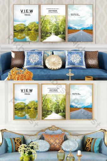 建森林路樹木景觀客廳臥室酒店裝飾畫 裝飾·模型 模板 PSD