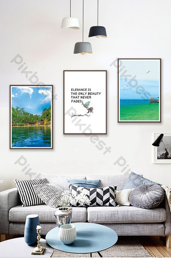 Nordic wind mountains and rivers sea scenery living room bedroom hotel decoration painting Decors & 3D Models Template PSD