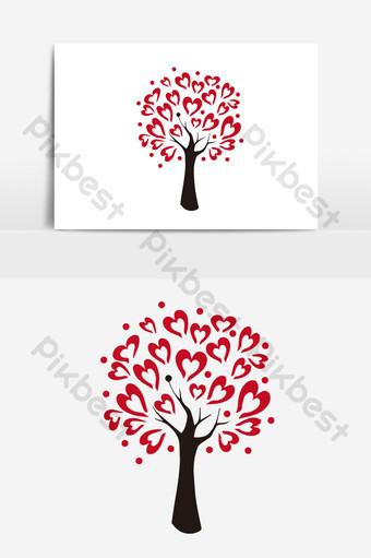 día de san valentín amor árbol florecimiento y fructificación elementos vectoriales dibujados a mano Elementos graficos Modelo AI