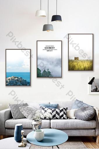 Jane European sea forest landscape living room bedroom hotel decoration painting Decors & 3D Models Template PSD