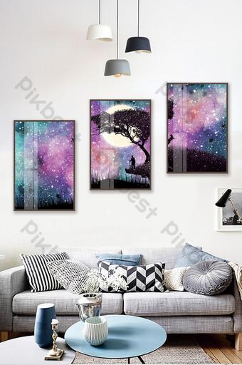 رسمت باليد السماء المرصعة بالنجوم الغابات المناظر الطبيعية غرفة المعيشة غرفة نوم فندق الكريستال الخزف اللوحة الزخرفية الديكور والنموذج قالب PSD