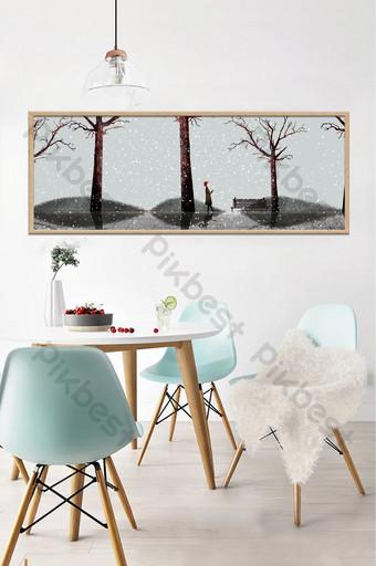 手繪冬季叢林風景客廳臥室床頭裝飾畫 裝飾·模型 模板 PSD