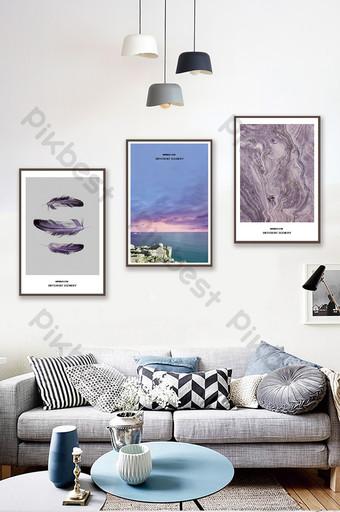 Jane European texture sea feather landscape living room bedroom hotel decoration painting Decors & 3D Models Template PSD