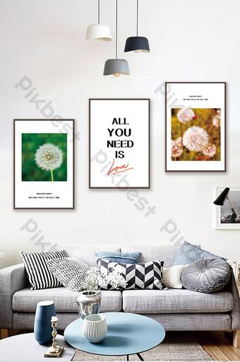 簡歐創意植物蒲公英風景客廳臥室酒店裝飾畫 裝飾·模型 模板 PSD