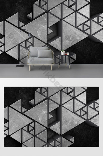 الحد الأدنى الحديثة الملمس الهندسي المعدني ثلاثي الأبعاد جدار خلفية التلفزيون النمط الصناعي الديكور والنموذج قالب PSD