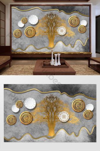 nuevo estilo chino árbol de la fortuna dorada plato de porcelana azul y blanca pared de fondo de círculo de hierro forjado Decoración y modelo Modelo PSD