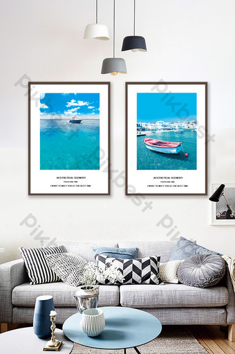 Jane Ou Creative Sea View Living Room Bedroom Hotel Decoration Painting Decors & 3D Models Template PSD
