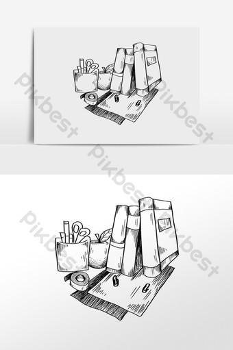 手繪線描學習文具書本插畫 元素 模板 PSD
