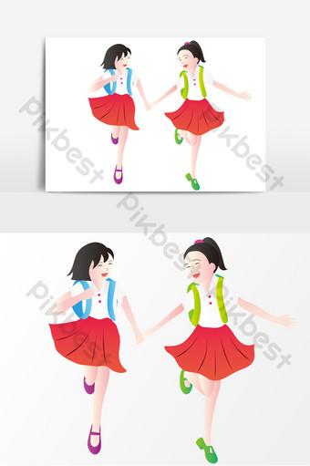 temporada escolar dos niñas estudiantes uniformes escolares con bolsas elementos de dibujos animados Elementos graficos Modelo AI