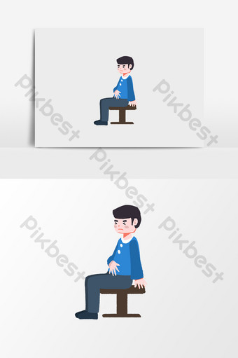 Illustration element of little boy seeing a doctor Illustration Template PSD
