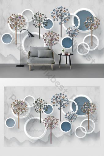 mode modern 3d tiga dimensi lingkaran bunga cabang tinta dinding latar belakang gunung Dekorasi dan model Templat PSD