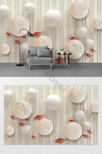 mode modern 3d stereo lingkaran dinding latar belakang ruang tamu ikan mas merah Dekorasi dan model Templat PSD