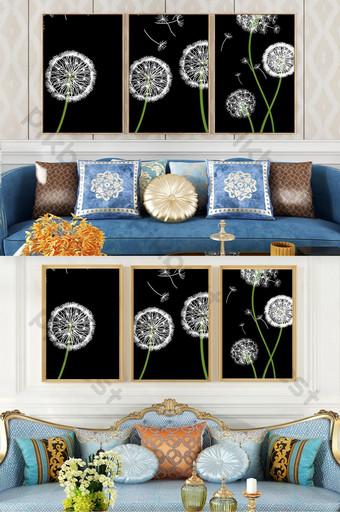 بسيطة الأوروبي هندسية نبات الهندباء المشهد غرفة نوم غرفة المعيشة فندق الديكور اللوحة الديكور والنموذج قالب PSD