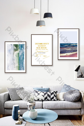 Jane Ou creative sea landscape living room bedroom decoration painting Decors & 3D Models Template PSD