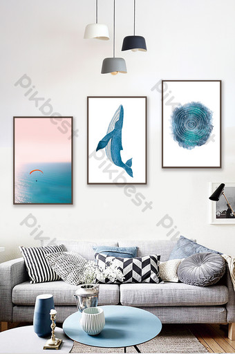 nordic style drawing whale annual ring sea scenery living room hotel decoration painting Decors & 3D Models Template PSD