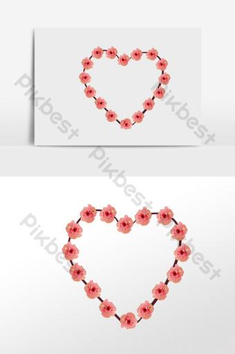 invitación de boda pintada a mano amor borde decorativo Elementos graficos Modelo PSD