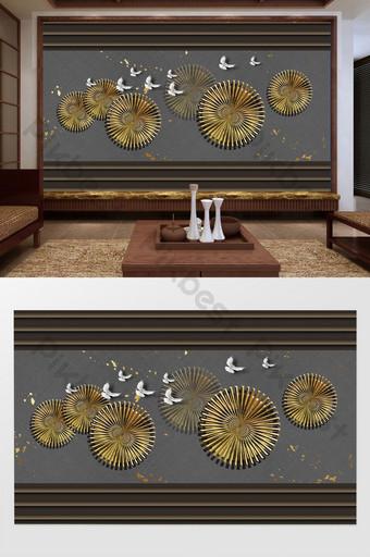 النمط الصيني بسيط زهرة ذهبية حمامة بيضاء الذهب احباط خلفية الجدار الرمادي الديكور والنموذج قالب PSD