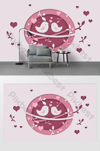 pared de fondo de corte de papel de pájaro de hoja de amor rosa simple de moda moderna Decoración y modelo Modelo PSD