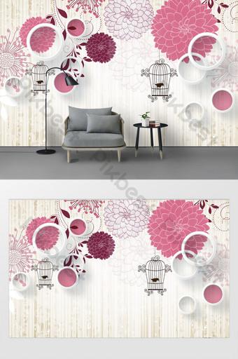 mode modern bunga sastra 3d tiga dimensi lingkaran dinding latar belakang sangkar burung Dekorasi dan model Templat PSD
