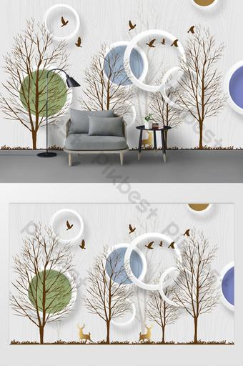 mode sederhana modern 3d lingkaran tiga dimensi hutan latar belakang dinding rusa emas Dekorasi dan model Templat PSD